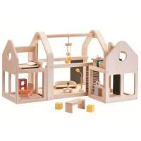Vorschau: Puppenhaus möbliert zum Tragen und Schieben