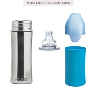 Vorschau: Edelstahl Trinklernflasche ab 6 Monate bis 99 Jahre blau