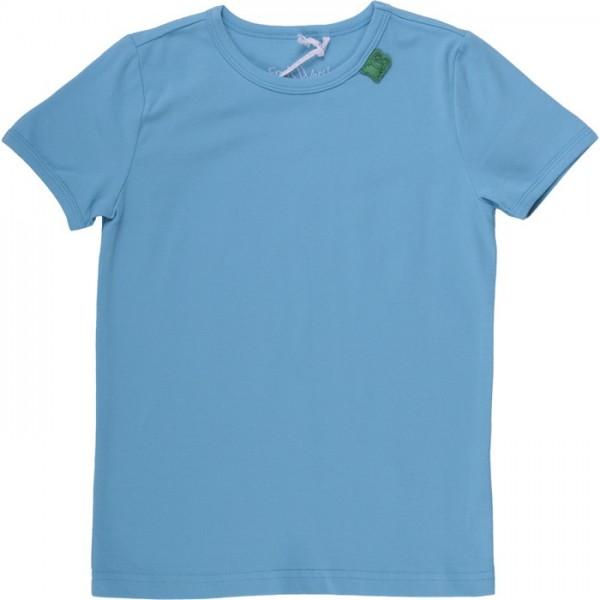 Bio Kinder T-Shirt mit Druckknöpfen - hellblau
