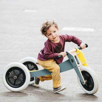 """Laufrad Dreirad Holz grau """"3in1"""" mitwachsend ab 12 Monaten"""