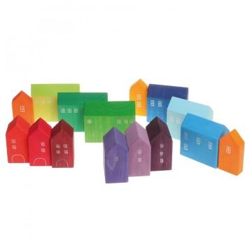 15 kleine Häuser handbemalt