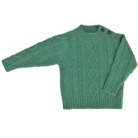 Strickpullover Zopfmuster Wolle Biobaumwolle Mix - mint