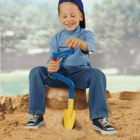 Vorschau: Sandbohrer und Schaufel in einem - blauer Spaten