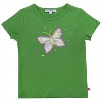 Shirt kurzarm Schmetterling-Aufnäher grün