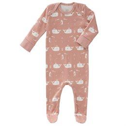 Schlafanzug Strampler rosa Wale