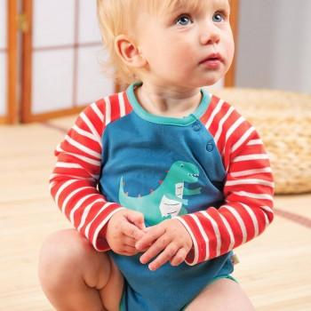 Raglan Body langarm Dino blau