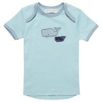 Babyshirt kurzarm Wal Aufnäher hellblau