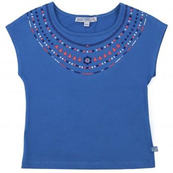 Sommer Shirt Stickerei in blau