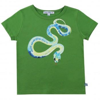 Edles T-Shirt Schlangen-Druck in grün