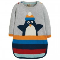 Pinguin Strickkleid in grau langarm
