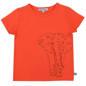 Elefant gestickt Shirt kurzarm orange