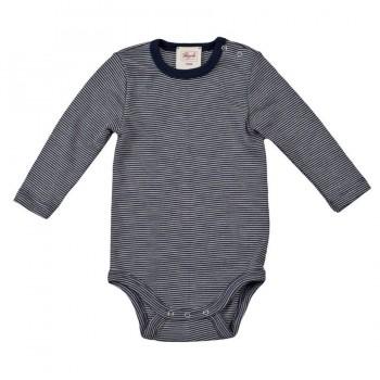 Wolle Seide Baby Body marine gestreift