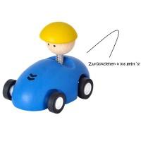 Kleiner Autoflitzer mit Getriebemechanismus blau
