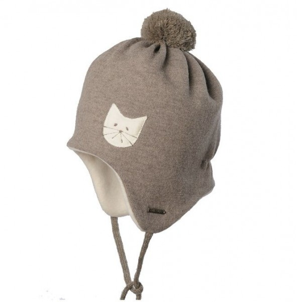 Warme Bio Baby Wintermütze mit Bommel - beige