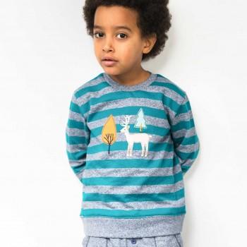 Sweater mit Hirsch-Aufnäher Streifen in petrol