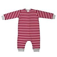Vorschau: Warmer Babystrampler unisex rot grau