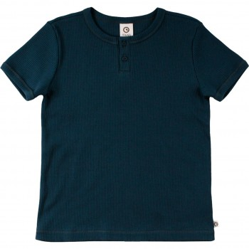 Ripp Shirt kurzarm Basic in dunkelblau