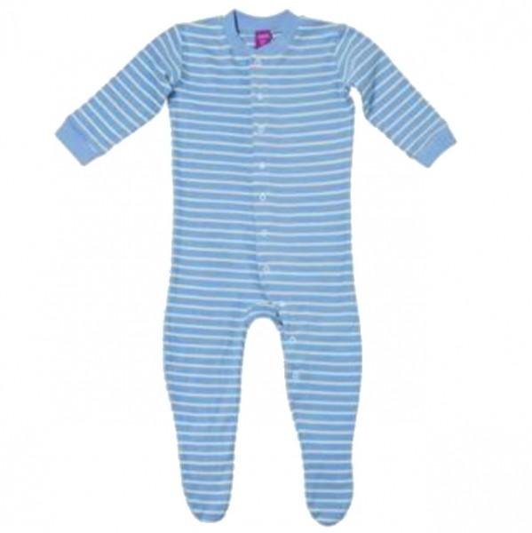 Warmer Schlafanzug Strampler aus Frottee mit Füßen hellblau