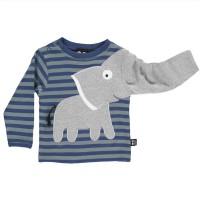 Elefanten Langarmshirt blau-grau gestreift
