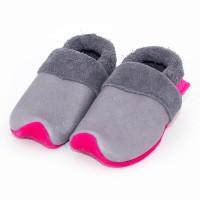 Bio Krabbelschuhe mitwachsend exclusiv grau pink