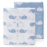 Pucktücher 2er Pack Wale blau 120x120