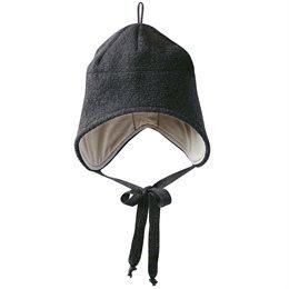 Wolle Wintermütze breiter Ohrenschutz dunkelgrau