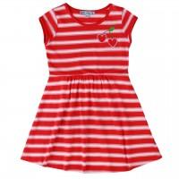 Jersey Kleid kurzarm Streifen rot-weiß
