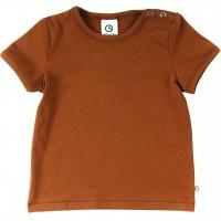 Schlichtes elastisches T-Shirt in ocker braun