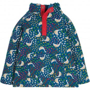 Plüsch Pullover Gans-Motive rot-blau