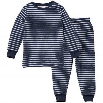 Schlafanzug Frottee Ringel dunkelblau