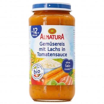 Gemüsereis mit Lachs in Tomatensauce ab 1 Jahr (250g)