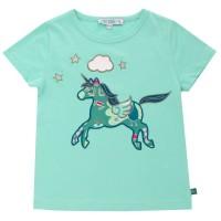 Einhorn Bio T-Shirt Aufnäher türkis
