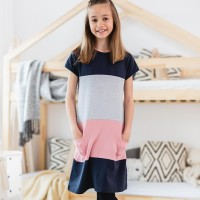 Kurzarm Kleid grau-schwarz-rosa Blocks