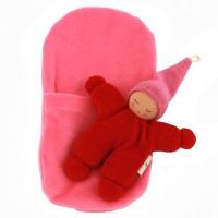 Vorschau: Wichtel mit Rassel im Schlafsack - rot