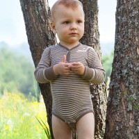 Vorschau: Wolle Seide Body langarm walnuss natur Druckknopf vorne