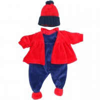 Puppenkleidung: Winterset rot/blau