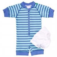 Badeanzug Baby blau Streifen weiß