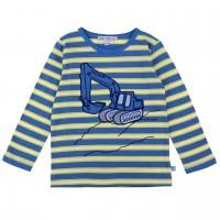 Shirt langarm Aufnäher Bagger gelb-blau