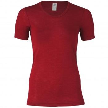 Wolle Seide Damen kurzarm Shirt malve