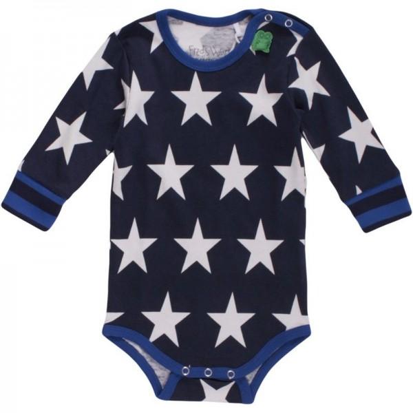 Bio Langarmbody Sternen für Jungen blau