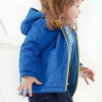 Outdoorjacke Kapuze wattiert in blau