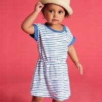 Kleidchen kurzarm Streifen blau