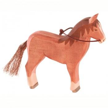 Pferd braun Holzfigur stehend 13,5 cm hoch OHNE Zügel