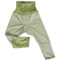 Mitwachsende Wolle Seide Hose grün gestreift Kratzschutz