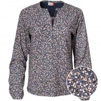 Damen Blusen-Shirt mit Knospen blau
