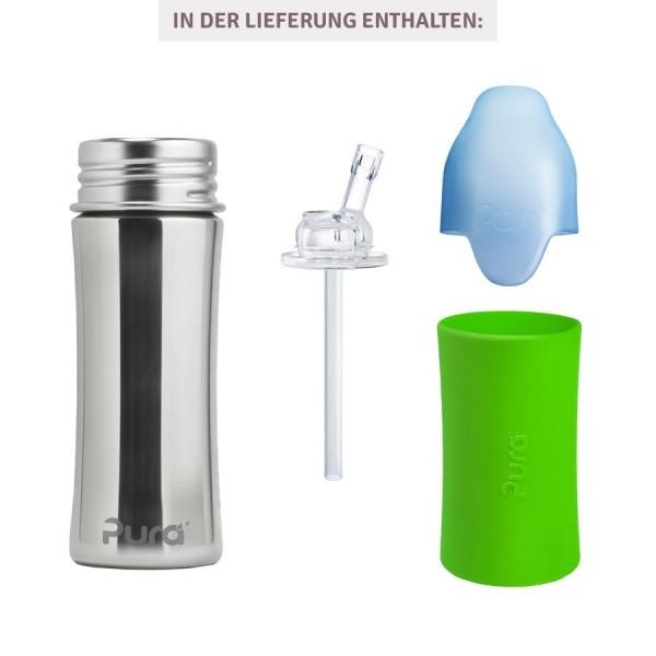 NUR HIER! Thermo Trinkhalm Flasche ab 12 M - open end grün