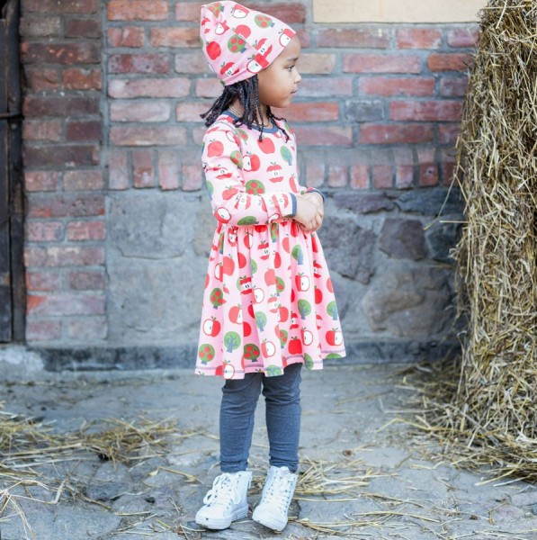 6347f7d3dec4 Langarm Kleid rosa Äpfel