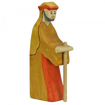 Hirte mit Stab Krippenfigur aus Holz