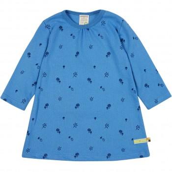 Kleid langarm Waldtiermotiv blau