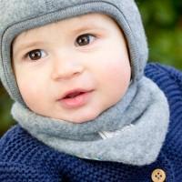 Winter Halstuch Woll Fleece zum Wenden grau